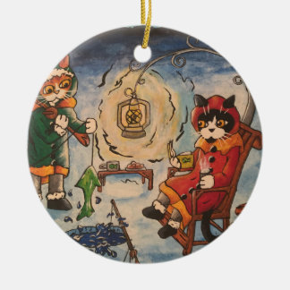 Ice Fishing at Night Christmas Ornament