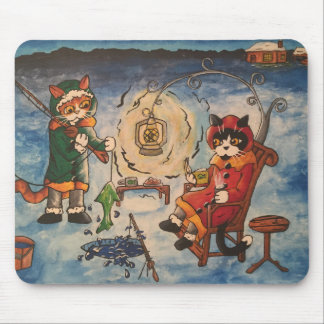 Ice Fishing at Night Mouse Mat