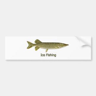Ice Fishing Northern Pike Logo Bumper Stickers