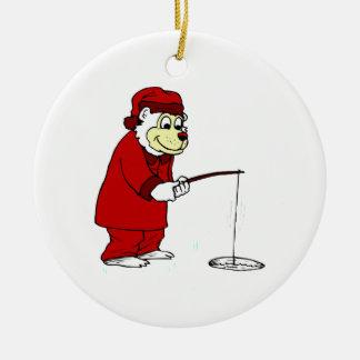 Ice Fishing Polar Bear in PJs Christmas Ornament