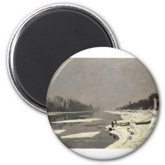 Ice Floes on the Seine at Bougival (1867-1868) 6 Cm Round Magnet