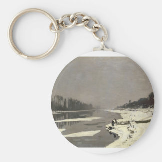 Ice Floes on the Seine at Bougival (1867-1868) Basic Round Button Key Ring