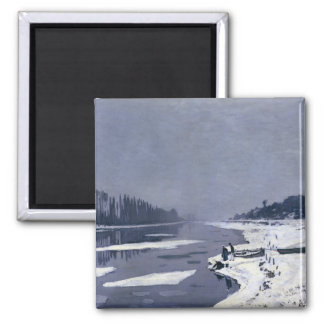 Ice floes on the Seine at Bougival, c.1867-68 Square Magnet
