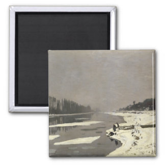 Ice Floes on the Seine at Bougival - Claude Monet Square Magnet