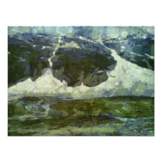 Ice forming a circle on a mountain photo print