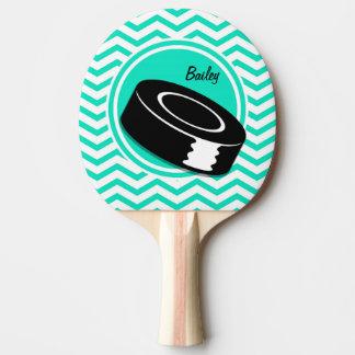 Ice Hockey; Aqua Green Chevron Ping Pong Paddle