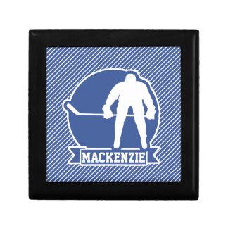 Ice Hockey, Blue & White Stripes, Sports Keepsake Box