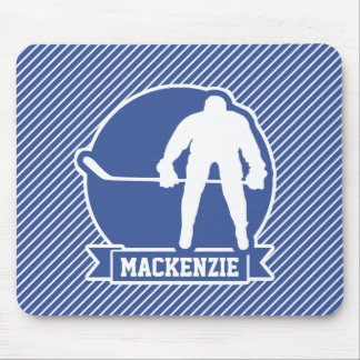 Ice Hockey, Blue & White Stripes, Sports Mousepads