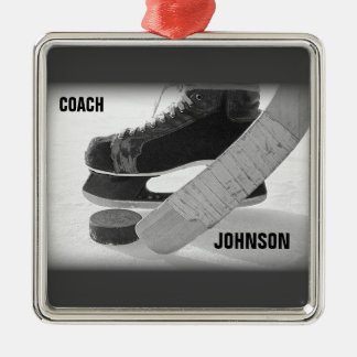 Ice Hockey Coach Thank You Silver-Colored Square Decoration