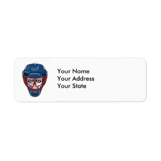ice hockey goalie mask skull design return address label
