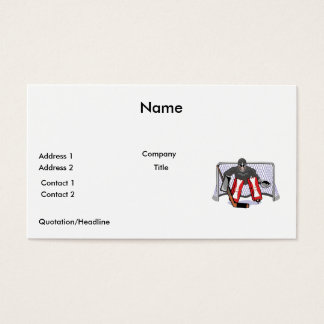 ice hockey goalie realistic vector illustration business card