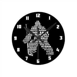 Ice Hockey Goalie Text Art Round Clock