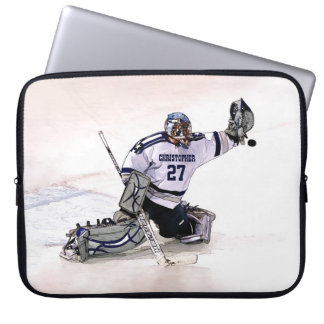 Ice Hockey Goalkeeper With Your Name Drawing Laptop Sleeve