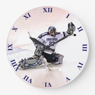 Ice Hockey Goalkeeper With Your Name Drawing Large Clock