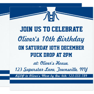 Ice Hockey Jersey Themed Party Invitations, Blue Card