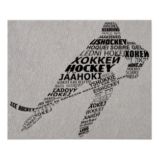 Ice Hockey Languages Text Art Poster