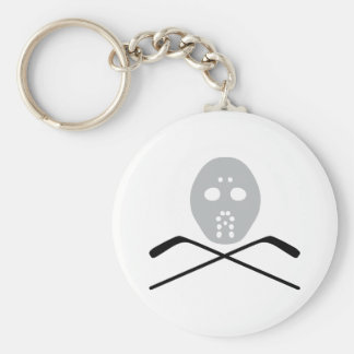 ice hockey mask and stick key chains