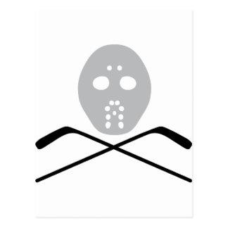 ice hockey mask and stick postcard
