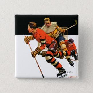 Ice Hockey Match 15 Cm Square Badge