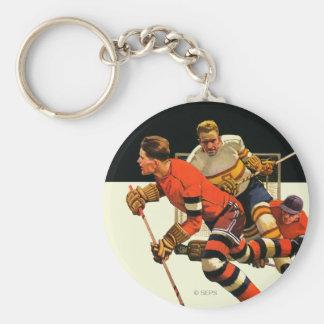 Ice Hockey Match Basic Round Button Key Ring