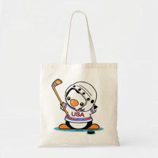 Ice Hockey Penguin Tote Bag