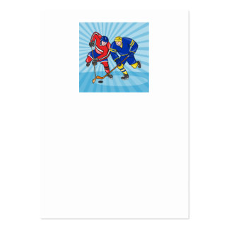 Ice Hockey Player Front With Stick Retro Business Cards