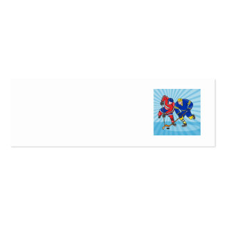Ice Hockey Player Front With Stick Retro Business Card Template