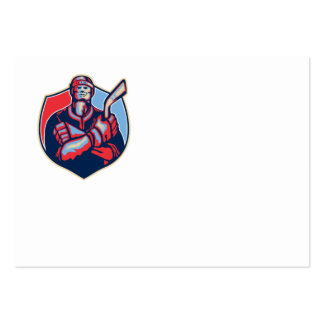 Ice Hockey Player Front With Stick Retro Business Card