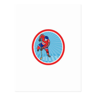 Ice Hockey Player Front With Stick Retro Post Cards