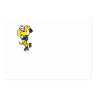 Ice Hockey Player Holding Stick Cartoon Business Card Templates
