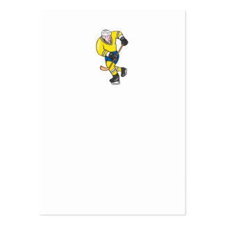 Ice Hockey Player Holding Stick Cartoon Business Card Templates