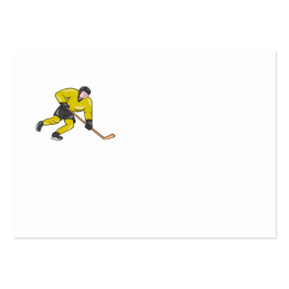Ice Hockey Player In Action Cartoon Business Card Templates