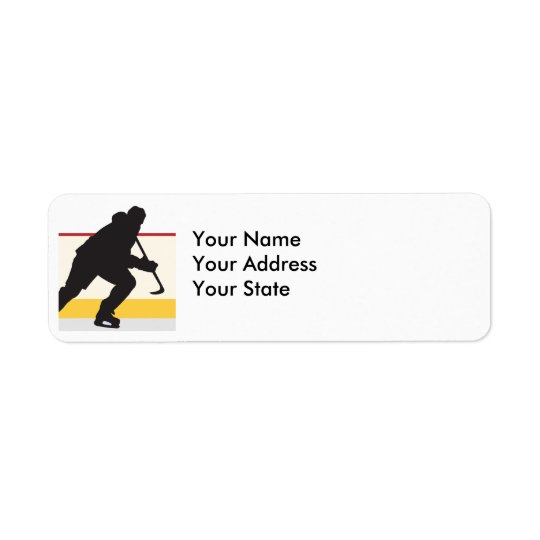 ice hockey player on the move return address label