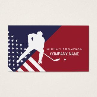 Ice Hockey Player On United States Flag Background