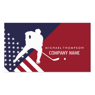 Ice Hockey Player On United States Flag Background Pack Of Standard Business Cards