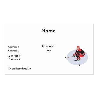 ice hockey player ready to strike business cards