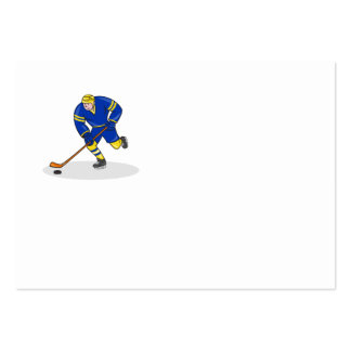 Ice Hockey Player Side With Stick Cartoon Business Card Template