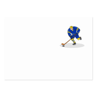 Ice Hockey Player Side With Stick Cartoon Business Cards