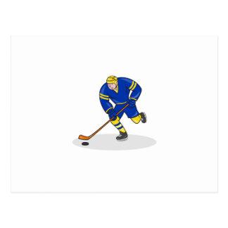 Ice Hockey Player Side With Stick Cartoon Postcard