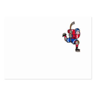 Ice Hockey Player Striking Stick Business Card