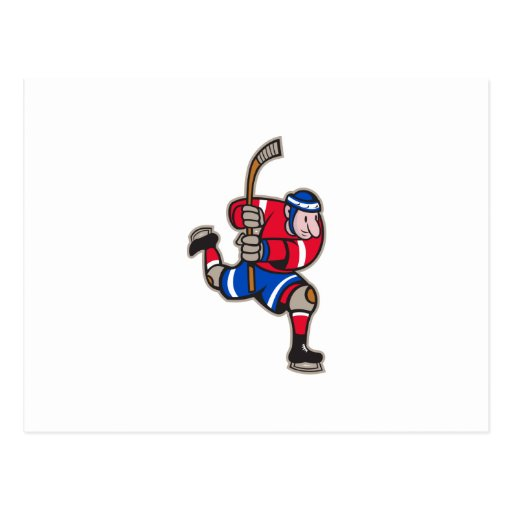 Ice Hockey Player Striking Stick Post Cards