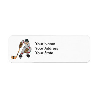 ice hockey player waiting return address label
