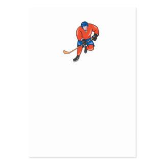 Ice Hockey Player With Stick Cartoon Business Card