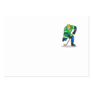 Ice Hockey Player With Stick Cartoon Business Card Template