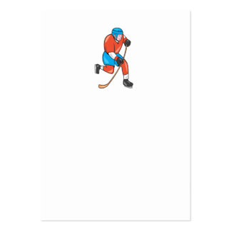 Ice Hockey Player With Stick Cartoon Business Cards