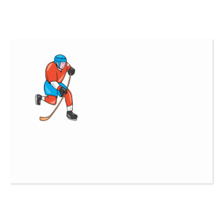 Ice Hockey Player With Stick Cartoon Business Card Templates