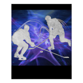 Ice Hockey Players Fighting for Puck Poster
