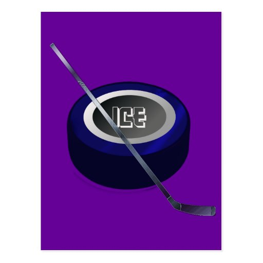 Ice hockey Puc and Stick Hockey lovers gift Post Cards