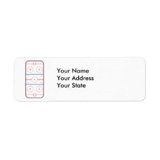 ice hockey rink graphic return address label