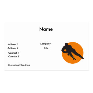 ice hockey silhouette orange circle design pack of standard business cards